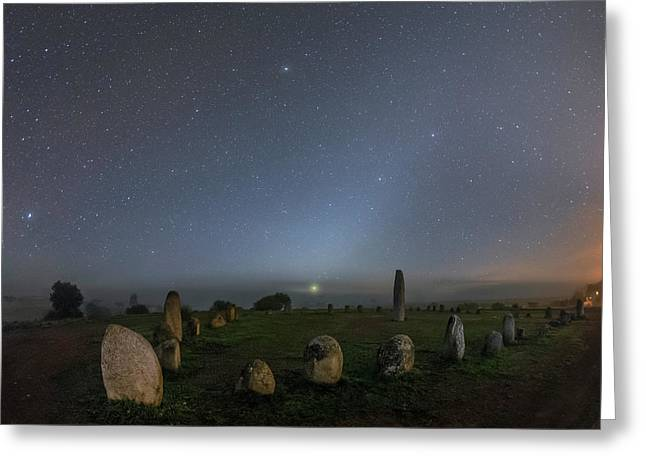 Night Sky Over Stone Circle Greeting Card by Babak Tafreshi