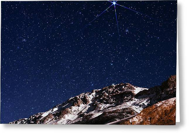 Night Sky Over The Alborz Mountains Greeting Card