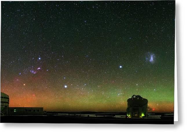 Night Sky Over Vlt Telescopes Greeting Card