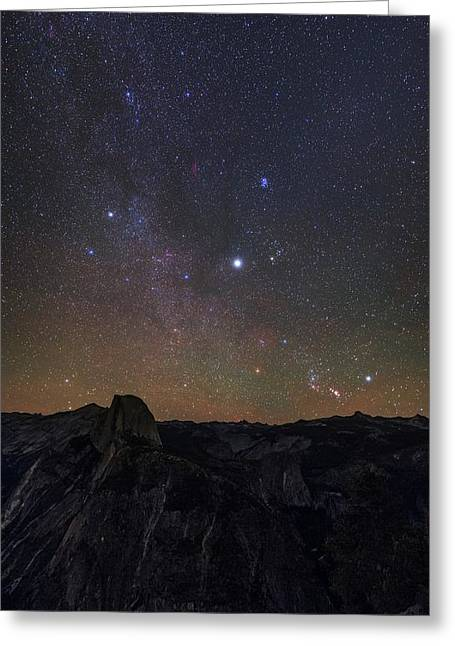 Night Sky Over Yosemite Park Greeting Card by Babak Tafreshi