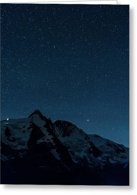 Night Sky With Millions Of Stars Over Mt Greeting Card by Martin Zwick