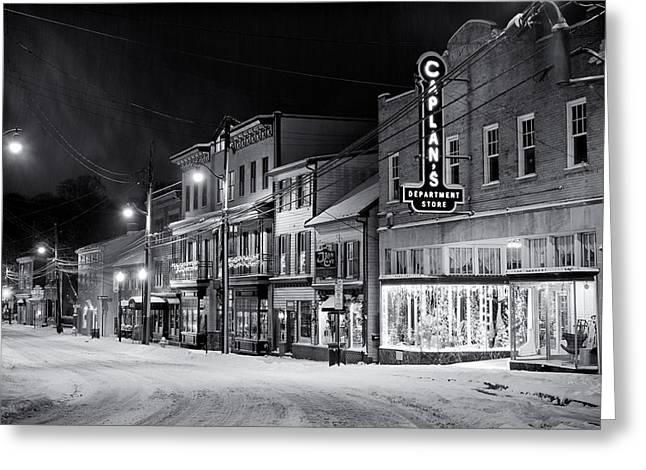 Night Snow Ellicott City Maryland Greeting Card by Geoffrey Baker