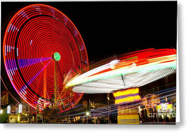 Night Spins Greeting Card by Bennie Chatman