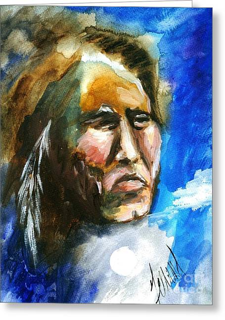 Greeting Card featuring the painting Night Spirit by Karen  Ferrand Carroll