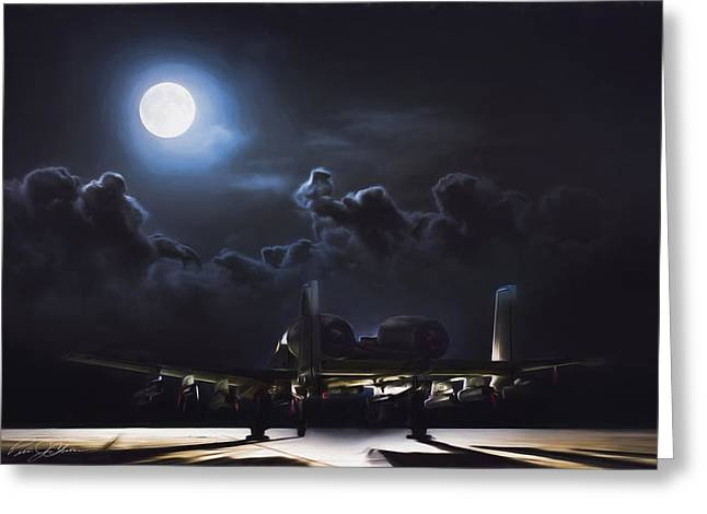 Night Stalker Awaits Greeting Card by Peter Chilelli