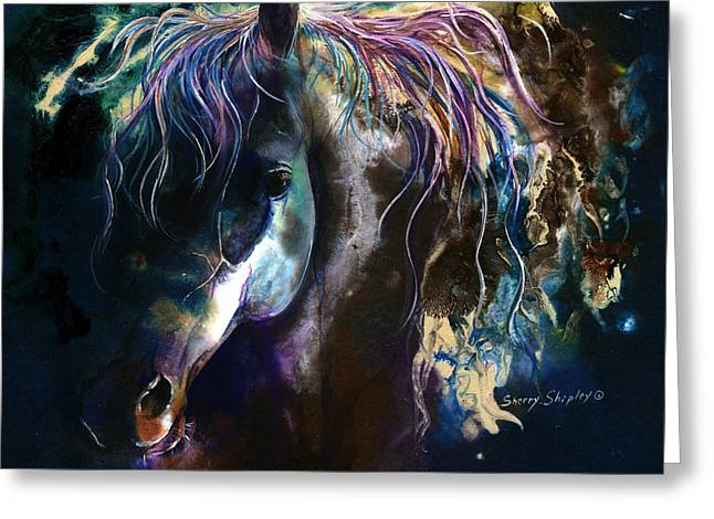 Greeting Card featuring the painting Night Stallion by Sherry Shipley