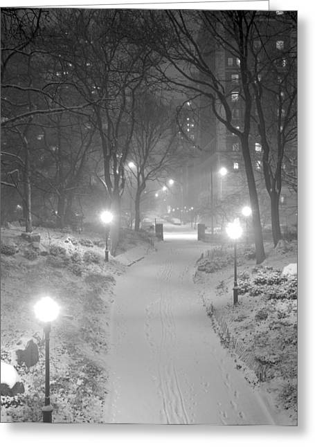 Greeting Card featuring the photograph Night Storm New York by Dave Beckerman