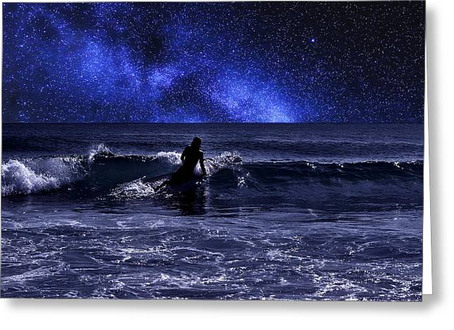 Night Surfing Greeting Card by Laura Fasulo