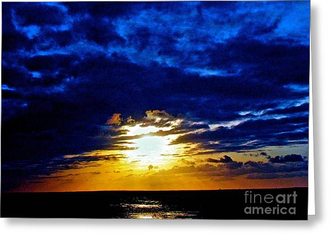 Night Surrounds The Sun Greeting Card by Q's House of Art ArtandFinePhotography