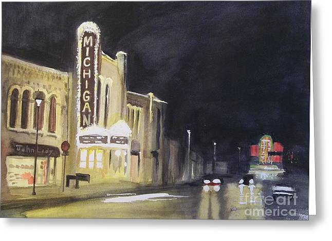 Night Time At Michigan Theater - Ann Arbor Mi Greeting Card by Yoshiko Mishina
