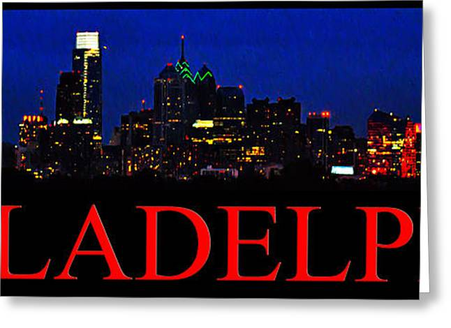 Night Time In Philadelphia Cityscape Greeting Card by Bill Cannon
