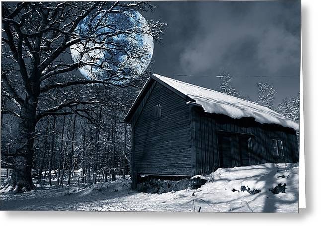 Night Time Landscape During Winter And Snow Greeting Card by Christian Lagereek
