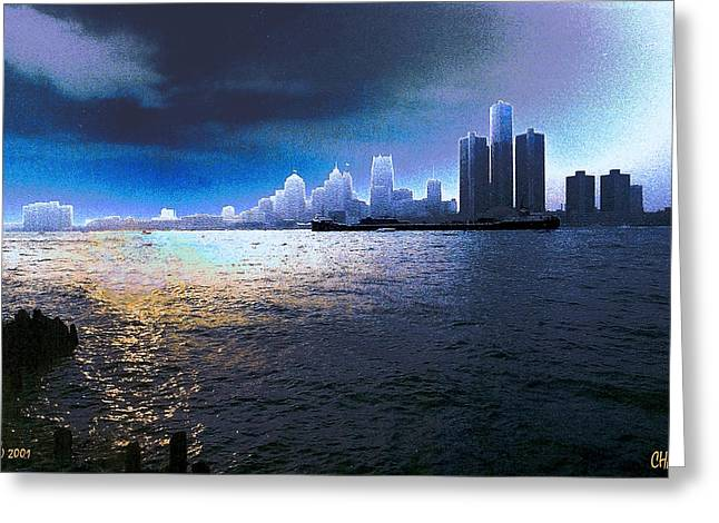 Night Time On The Detroit River Greeting Card