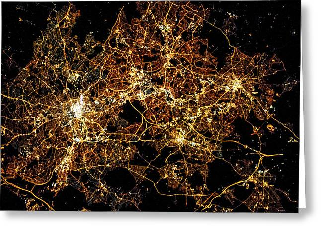 Night Time Satellite Image Of A City Greeting Card