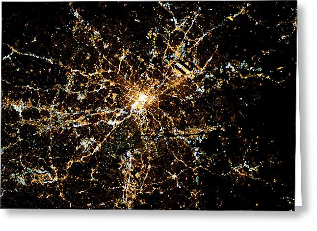 Night Time Satellite Image Of Atlanta Greeting Card