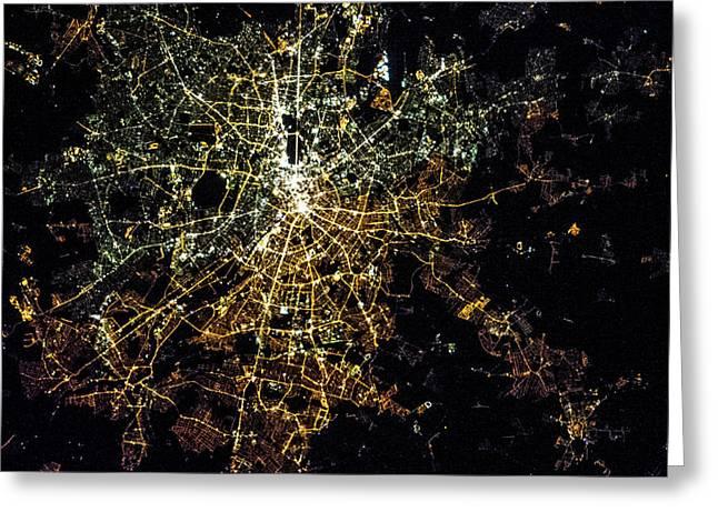 Night Time Satellite Image Of Berlin Greeting Card