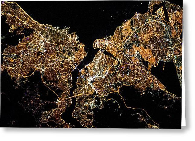 Night Time Satellite Image Of Istanbul Greeting Card