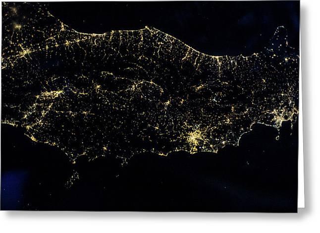 Night Time Satellite Image Of Italy Greeting Card