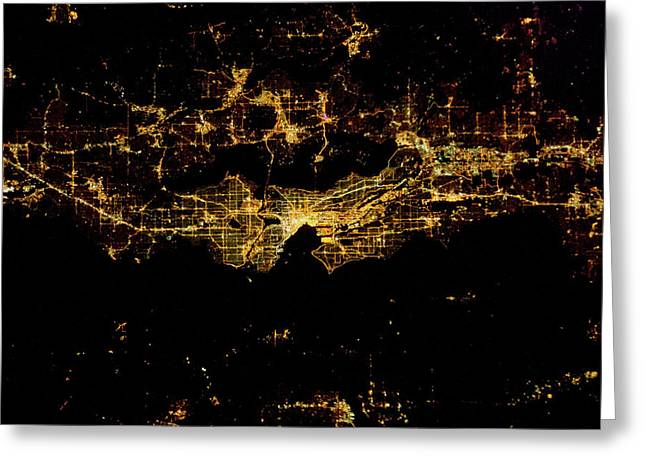 Night Time Satellite Image Of Seattle Greeting Card