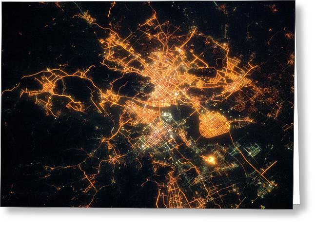 Night Time Satellite View Of Hangzhou Greeting Card