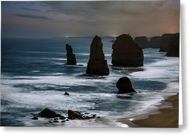 Night Time View Of The Twelve Apostles Greeting Card