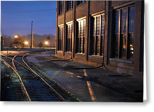 Night Tracks Greeting Card by Misty Stach