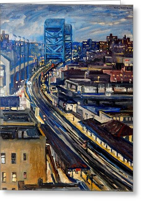 Night Tracks New York Nocturne Broadway Bridge Greeting Card
