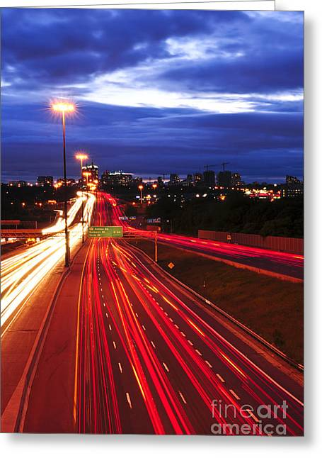 Night Traffic Greeting Card by Elena Elisseeva