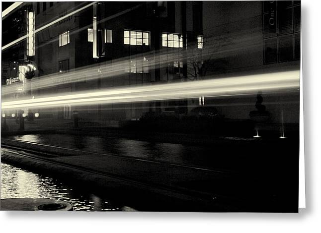 Night Train Black And White Greeting Card by Joshua House