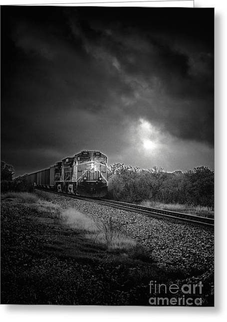 Night Train Greeting Card by Robert Frederick