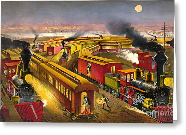 Night Trains 1876 Greeting Card by Padre Art