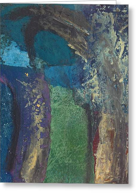 Greeting Card featuring the mixed media Night Trees by Catherine Redmayne
