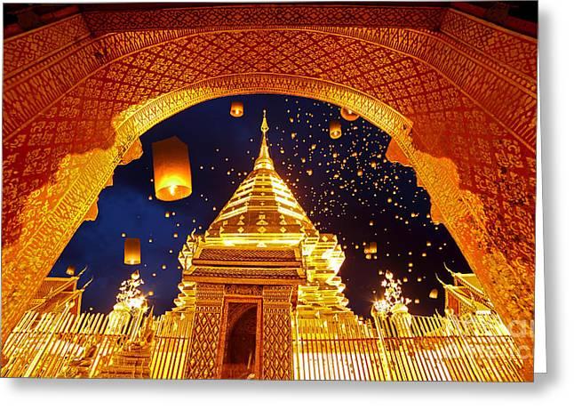Night View Doi Suthep Chiang Mai Thailand Greeting Card by Phaitoon Sutunyawatcahi