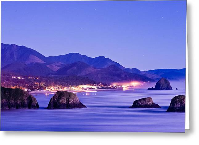 Night View Of Cannon Beach Greeting Card