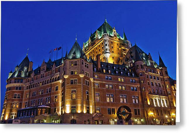 Night View Of Chateau Frontenac Hotel Greeting Card by Keren Su