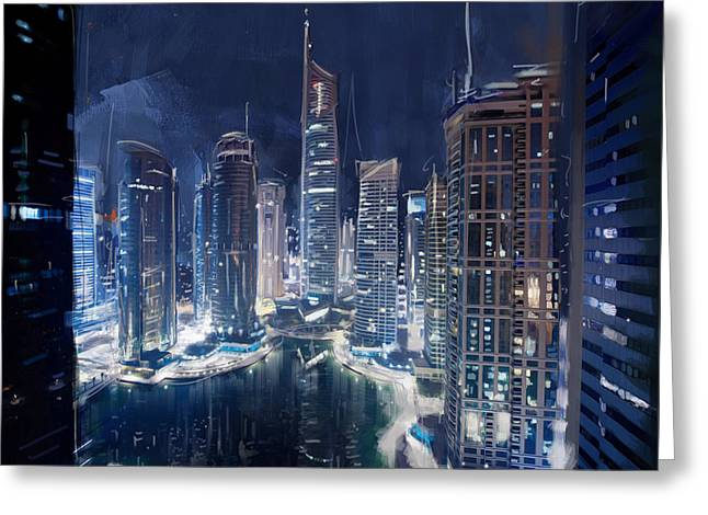 Night View Of Jlt Dubai Greeting Card by Corporate Art Task Force
