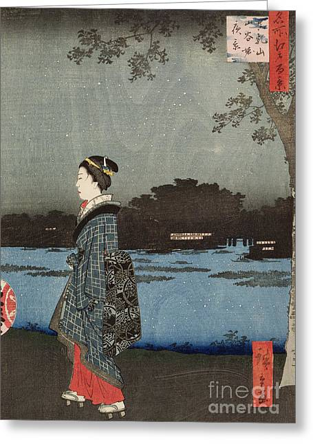 Night View Of Sanya Canal And Matsuchi Hill Greeting Card by Hiroshige