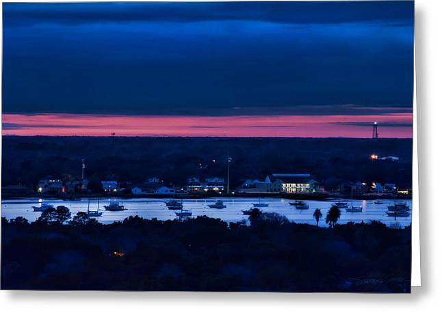 Night View Of St. Augustine Bayfront South Greeting Card