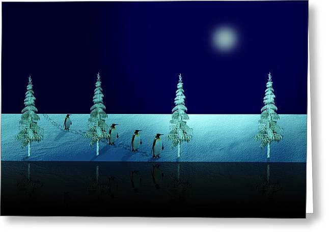 Night Walk Of The Penguins 2.5 Greeting Card by David Dehner