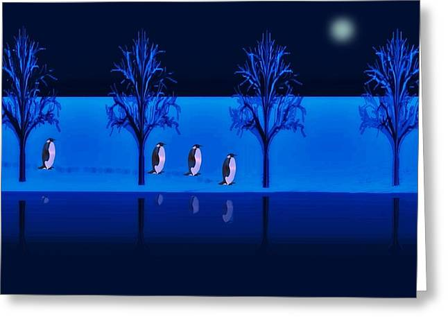 Night Walk Of The Penguins Greeting Card