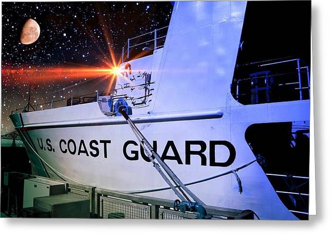 Greeting Card featuring the photograph Night Watch Us Coast Guard by Aaron Berg