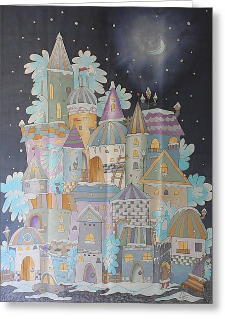 Night Winter City Greeting Card