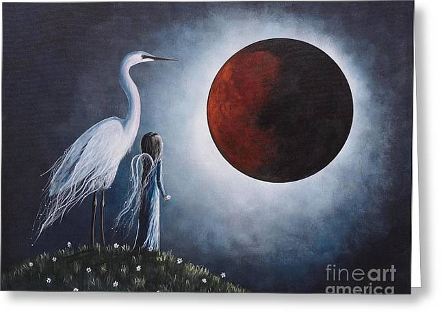 Night With The Great Egret By Shawna Erback Greeting Card