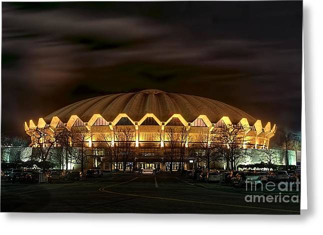night WVU basketball Coliseum arena in Greeting Card by Dan Friend