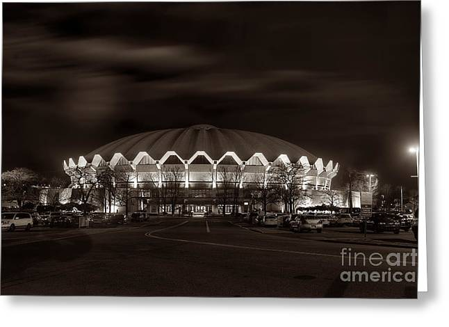 night WVU Coliseum basketball arena Greeting Card by Dan Friend