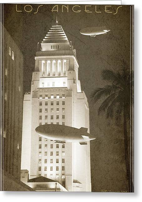 Night Zeppelins Over L A Greeting Card by Bill Jonas