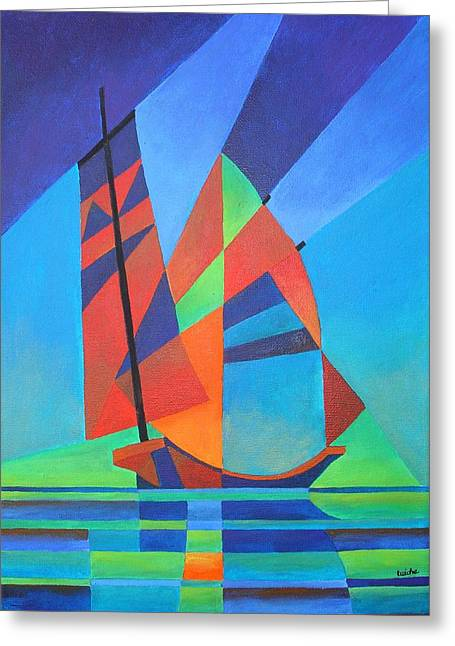 Greeting Card featuring the painting Nightboat by Tracey Harrington-Simpson
