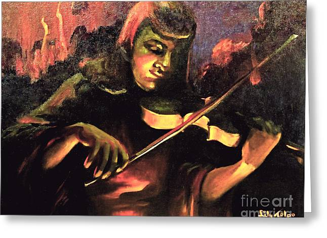 Nightclub Violinist - 1940s Greeting Card