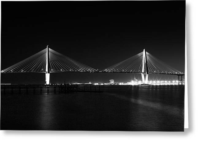 Nightfall At The Arthur Ravenal Bridge Greeting Card