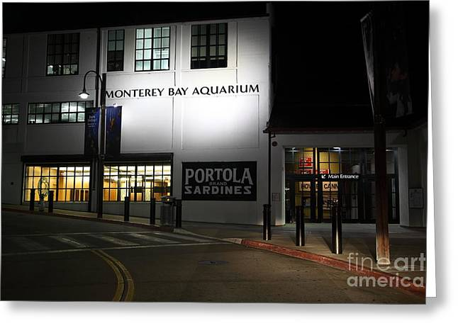 Nightfall At The Monterey Bay Aquarium On Monterey Cannery Row California 5d25177 Greeting Card